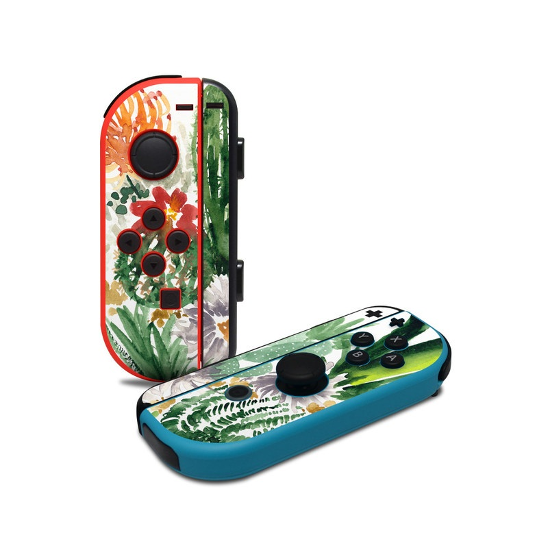 Nintendo Switch JoyCon Controller Skin design of Cactus, Plant, Flower, Botany, Leaf, Illustration, Pine, Grass, Succulent plant, Branch with white, green, red, orange colors
