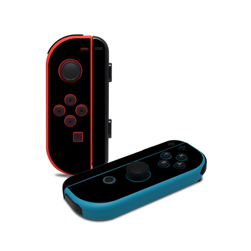 Nintendo Switch JoyCon Controller Skin design of Black, Darkness, White, Sky, Light, Red, Text, Brown, Font, Atmosphere with black colors