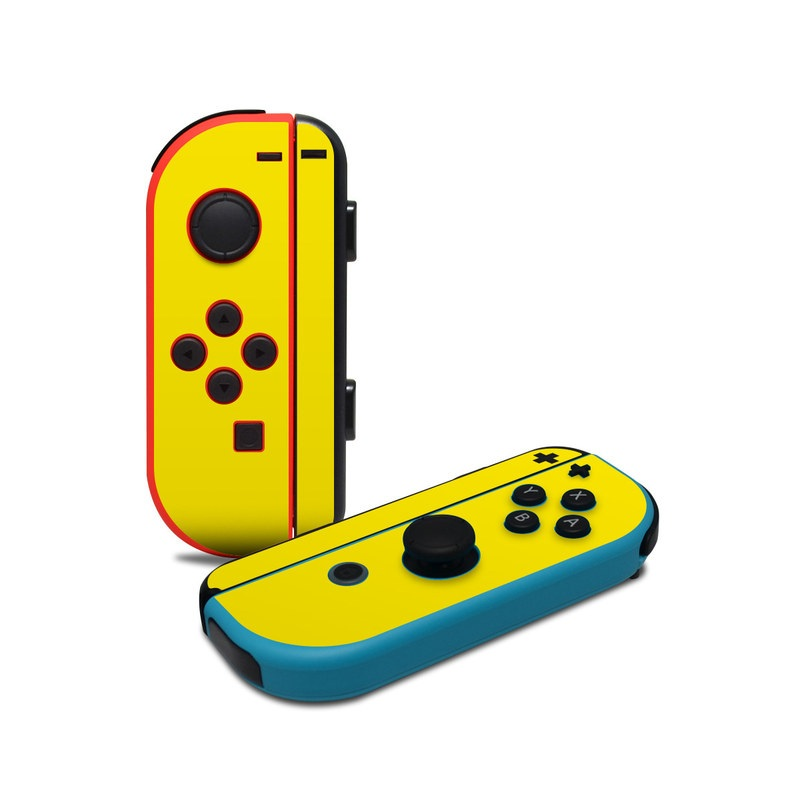 Nintendo Switch JoyCon Controller Skin design of Green, Yellow, Orange, Text, Font with yellow colors