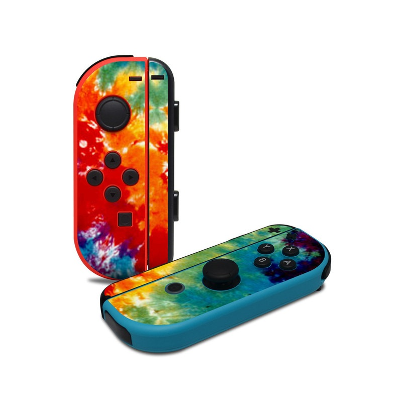 Nintendo Switch JoyCon Controller Skin design of Orange, Watercolor paint, Sky, Dye, Acrylic paint, Colorfulness, Geological phenomenon, Art, Painting, Organism with red, orange, blue, green, yellow, purple colors