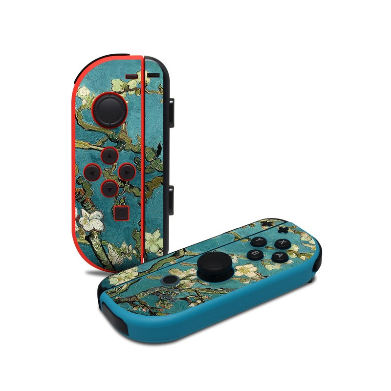 Nintendo Switch JoyCon Controller Skin design of Tree, Branch, Plant, Flower, Blossom, Spring, Woody plant, Perennial plant with blue, black, gray, green colors