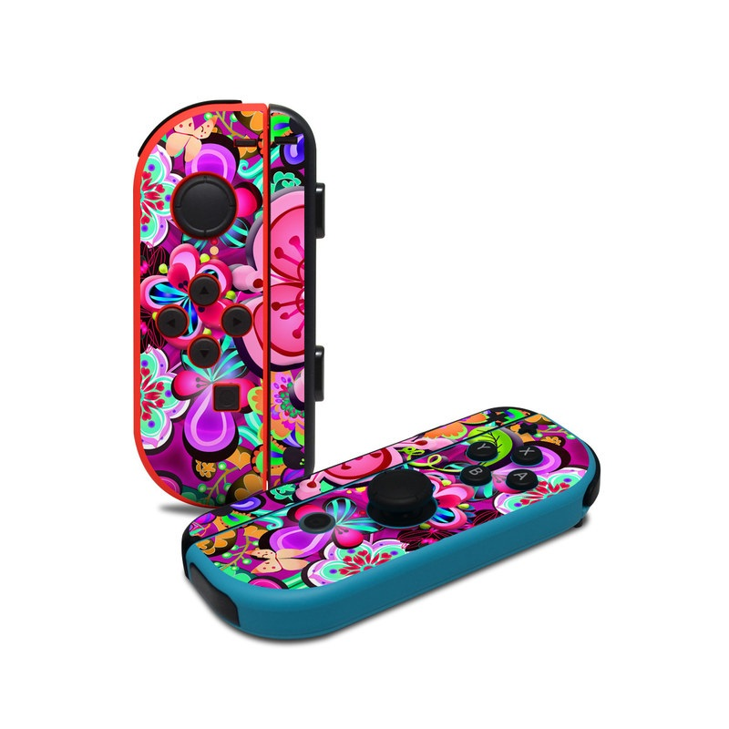 Nintendo Switch JoyCon Controller Skin design of Pattern, Pink, Design, Textile, Magenta, Art, Visual arts, Paisley with purple, black, red, gray, blue colors