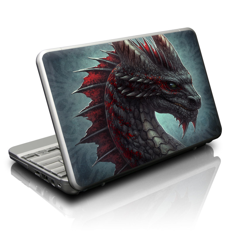 Netbook Skin design of Dragon, Fictional character, Mythical creature, Demon, Cg artwork, Illustration, Green dragon, Supernatural creature, Cryptid with red, gray, blue colors