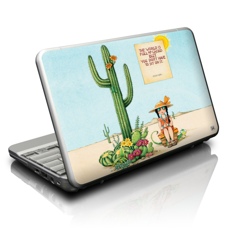 Netbook Skin design of Cartoon, Cactus, Illustration, Animated cartoon, Plant, Vegetable, Fictional character, Art with green, yellow, pink, orange, brown colors