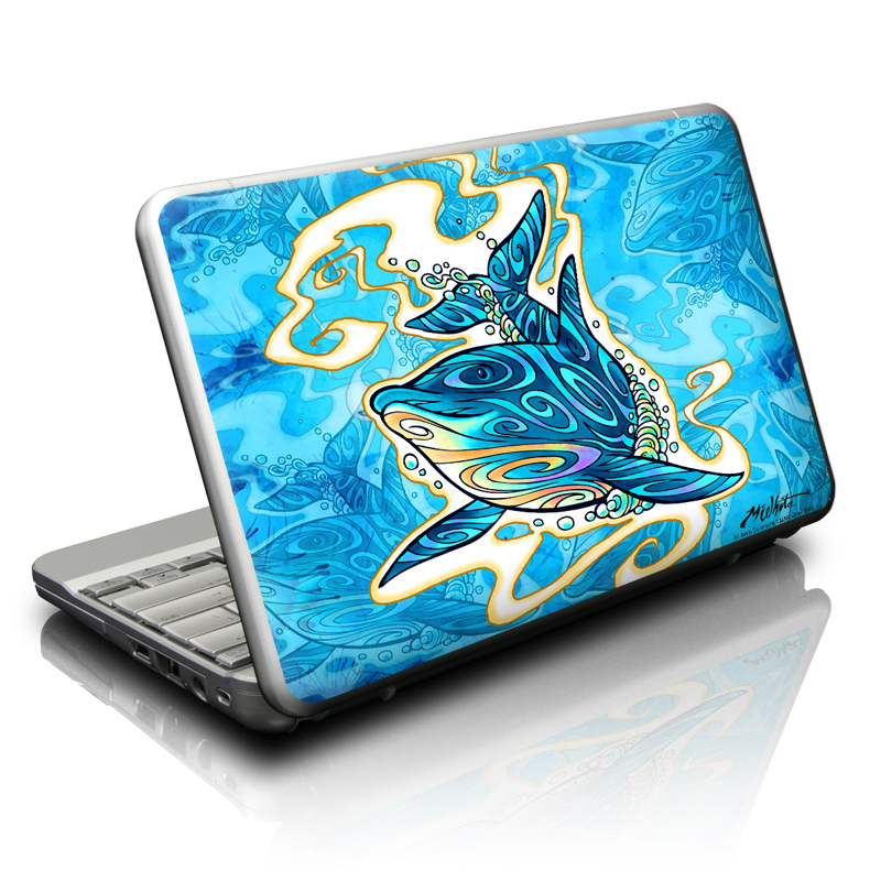 Netbook Skin design of Dolphin, Aqua, Marine mammal, Cetacea, Illustration, Common dolphins, Bottlenose dolphin, Short-beaked common dolphin, Electric blue, Art with blue, gray, white, black colors