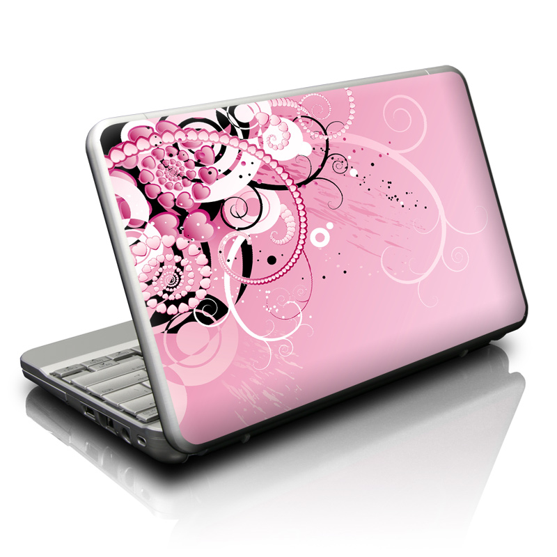 Netbook Skin design of Pink, Floral design, Graphic design, Text, Design, Flower Arranging, Pattern, Illustration, Flower, Floristry with pink, gray, black, white, purple, red colors