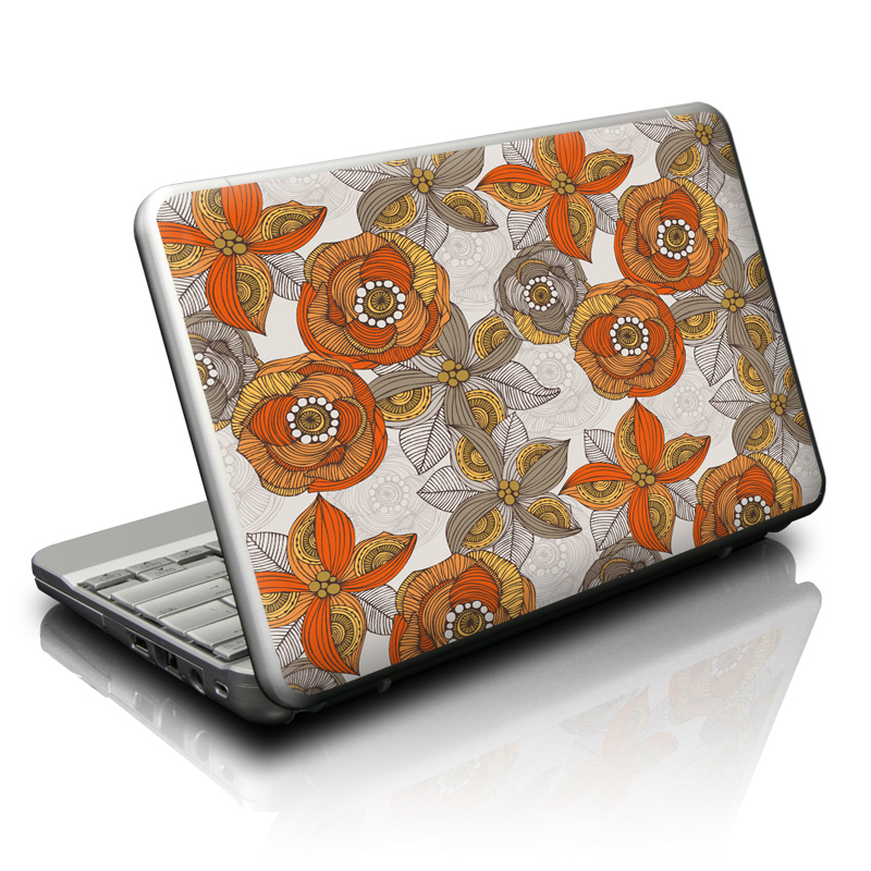 Orange and Grey Flowers Netbook Skin