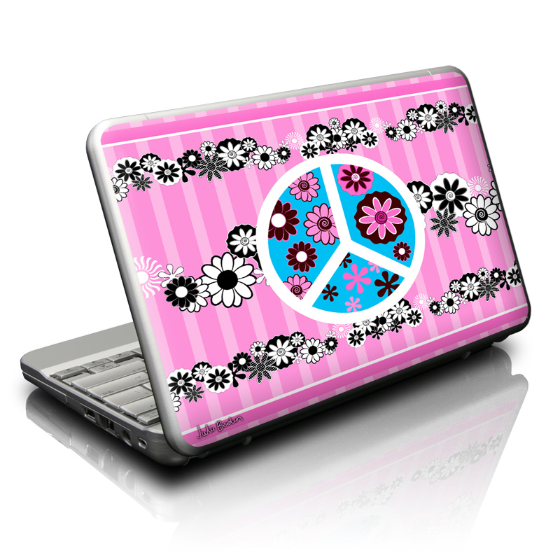 Peace Flowers Pink Netbook Skin