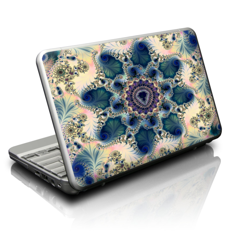 Netbook Skin design of Fractal art, Pattern, Blue, Organism, Turquoise, Symmetry, Aqua, Art, Design, Close-up with gray, black, pink, blue, green colors