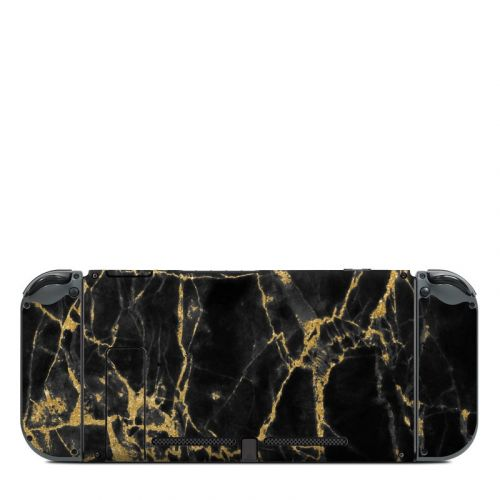 Black Gold Marble Nintendo Switch Back Skin