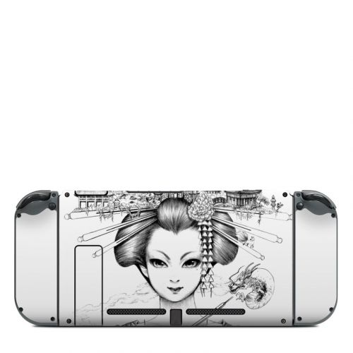 Geisha Sketch Nintendo Switch Back Skin