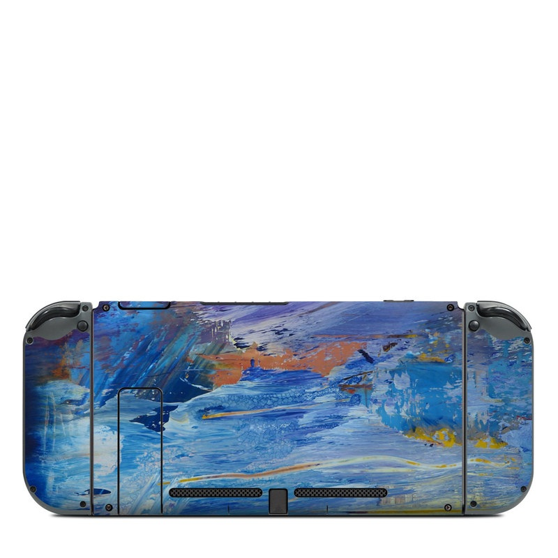 Nintendo Switch Back Skin design of Painting, Blue, Modern art, Acrylic paint, Sky, Watercolor paint, Art, Visual arts, Paint, Electric blue with blue, purple, yellow, brown, orange, black colors