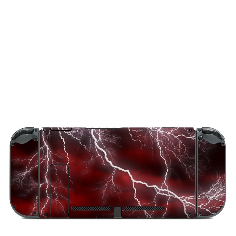 Nintendo Switch Back Skin design of Thunder, Thunderstorm, Lightning, Red, Nature, Sky, Atmosphere, Geological phenomenon, Lighting, Atmospheric phenomenon with red, black, white colors
