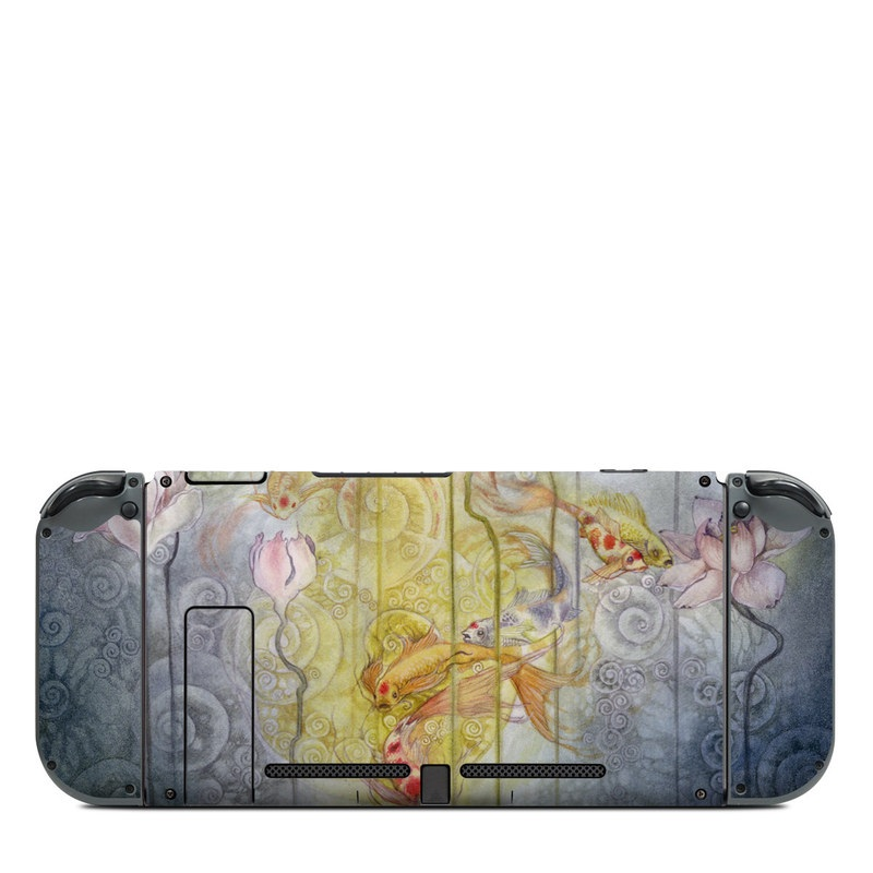 Nintendo Switch Back Skin design of Watercolor paint, Painting, Art, Yellow, Flower, Acrylic paint, Floral design, Visual arts, Modern art, Illustration with blue, red, orange, pink, yellow colors