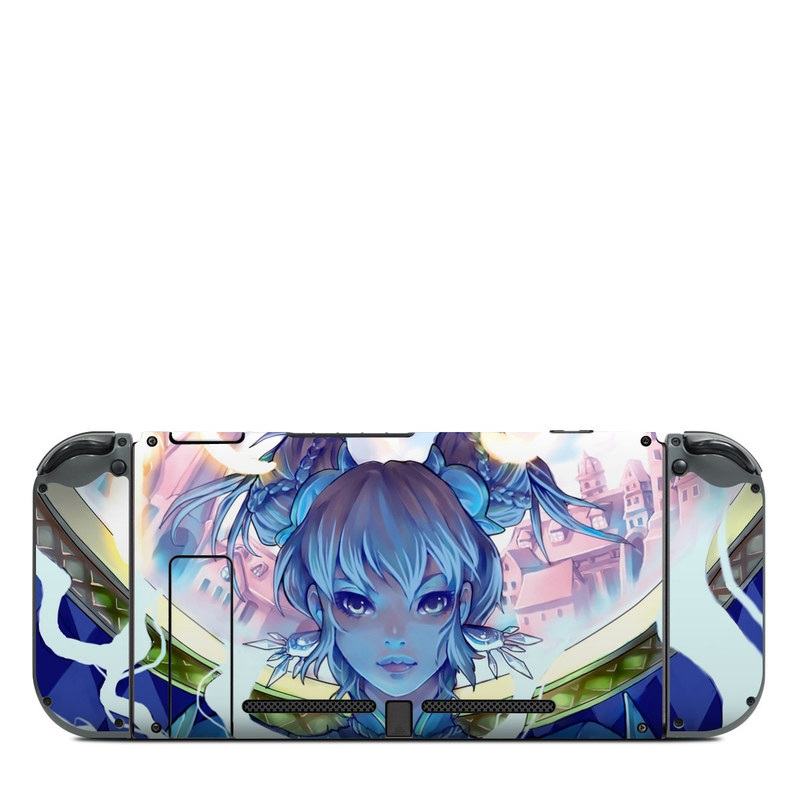 Nintendo Switch Back Skin design of Cg artwork, Anime, Cartoon, Sky, Long hair, Illustration, Fictional character, Black hair, Art with blue, purple, pink, white, yellow colors