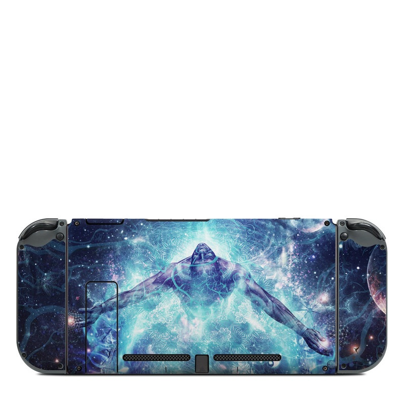Nintendo Switch Back Skin design of Outer space, Astronomical object, Universe, Space, Sky, Atmosphere, Fractal art, Nebula, Science, Star with blue, black, red, yellow, white colors