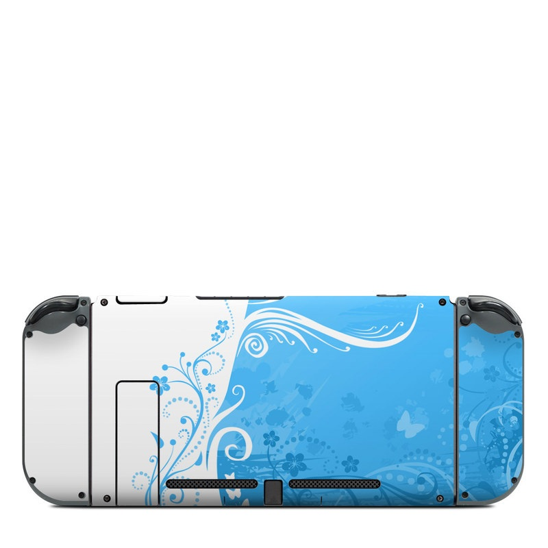 Nintendo Switch Back Skin design of Blue, Aqua, Pattern, Turquoise, Azure, Teal, Design, Graphic design, Visual arts, Illustration with blue, white colors