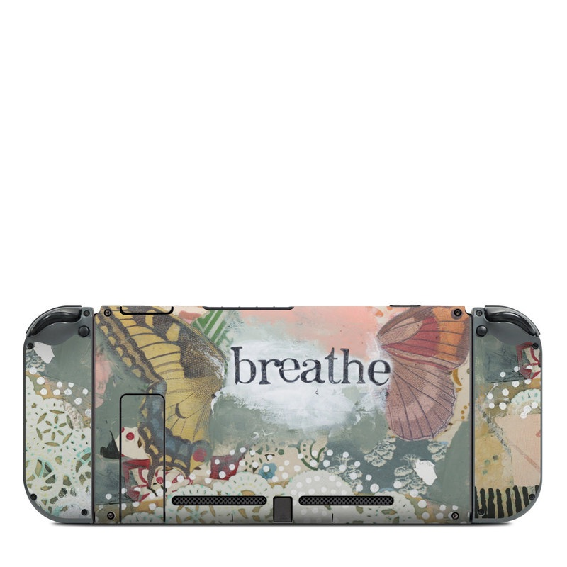 Nintendo Switch Back Skin design of Butterfly, Moths and butterflies, Insect, Pollinator, Organism, Illustration, Brush-footed butterfly, Art, Fictional character, Wildflower with pink, brown, white, black, red, blue, green colors