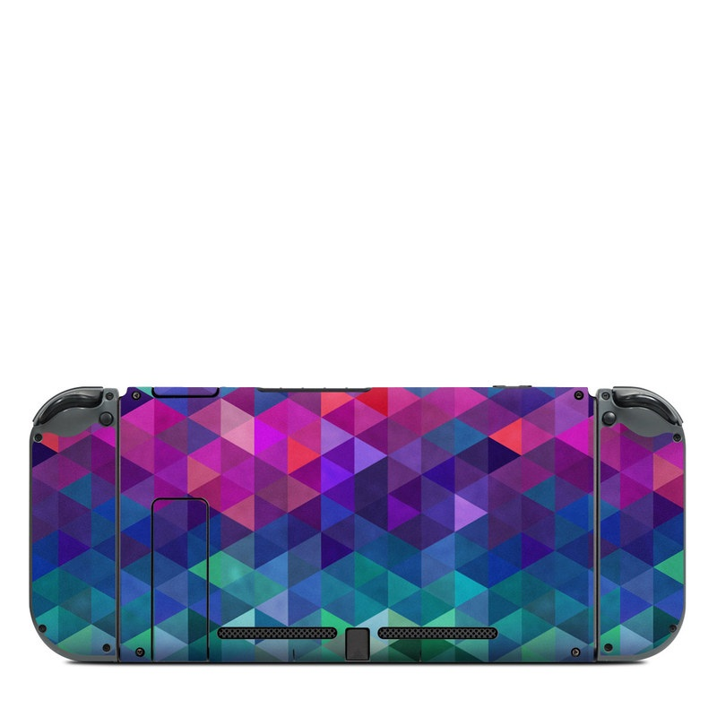 Nintendo Switch Back Skin design of Purple, Violet, Pattern, Blue, Magenta, Triangle, Line, Design, Graphic design, Symmetry with blue, purple, green, red, pink colors