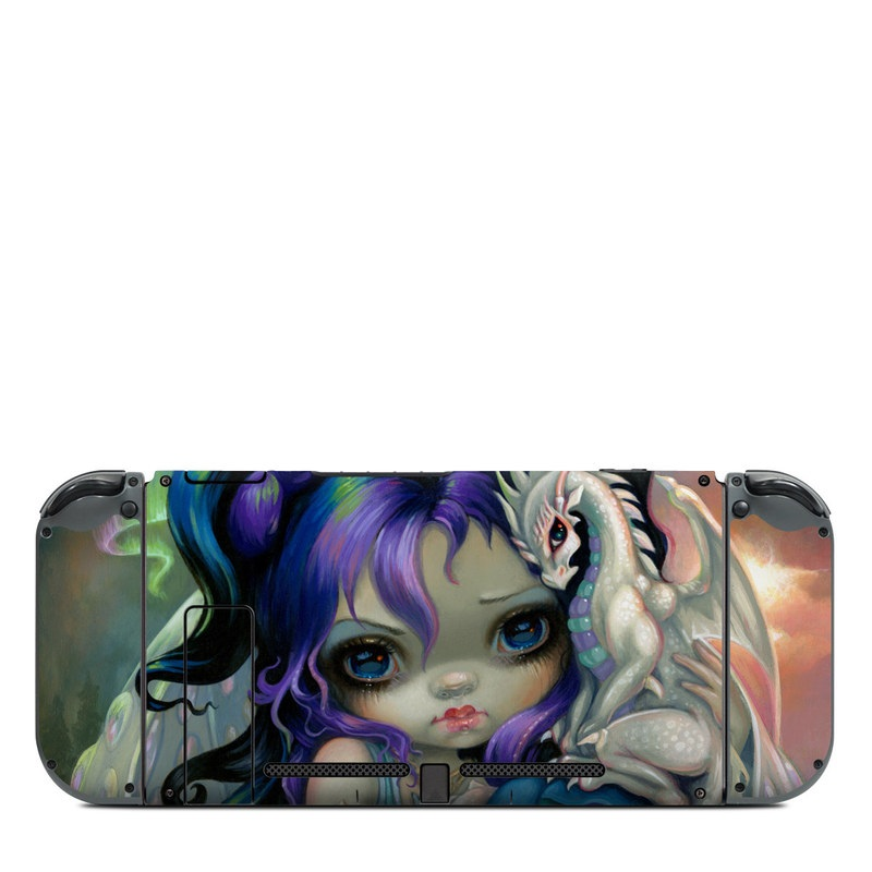 Nintendo Switch Back Skin design of Illustration, Fictional character, Cg artwork, Art, Mythology, Anime, Mythical creature with green, blue, purple, yellow, red, white colors