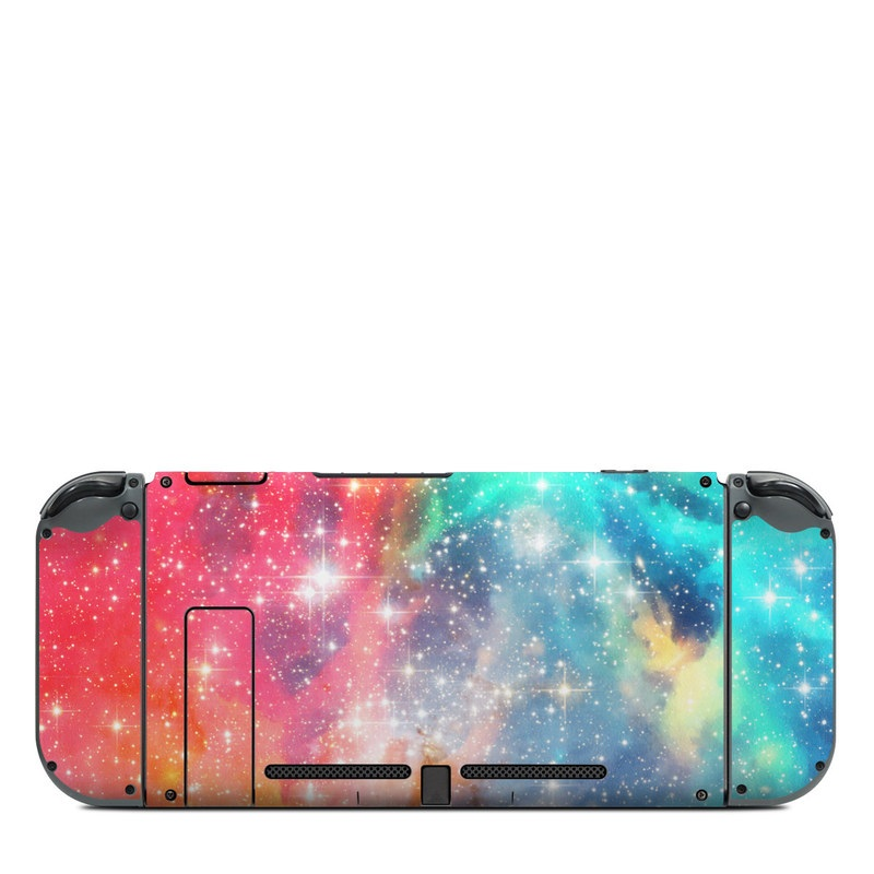 Nintendo Switch Back Skin design of Nebula, Sky, Astronomical object, Outer space, Atmosphere, Universe, Space, Galaxy, Celestial event, Star with white, black, red, orange, yellow, blue colors