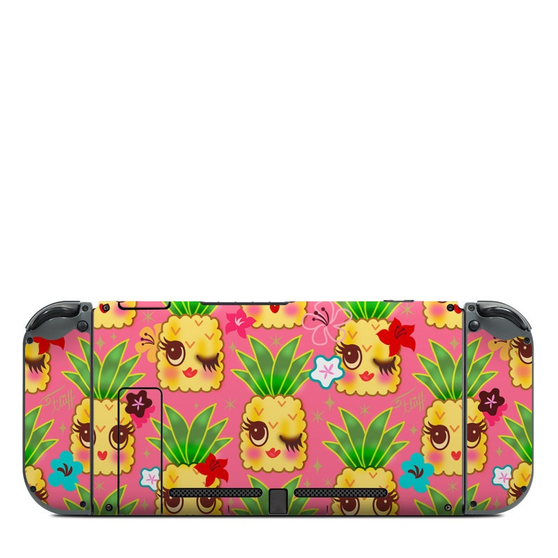 Nintendo Switch Back Skin design of Green, Yellow, Plant, Pattern, Design, Grass, Textile, Wrapping paper, Clip art, Graphics with pink, yellow, green, white, blue, brown, red colors