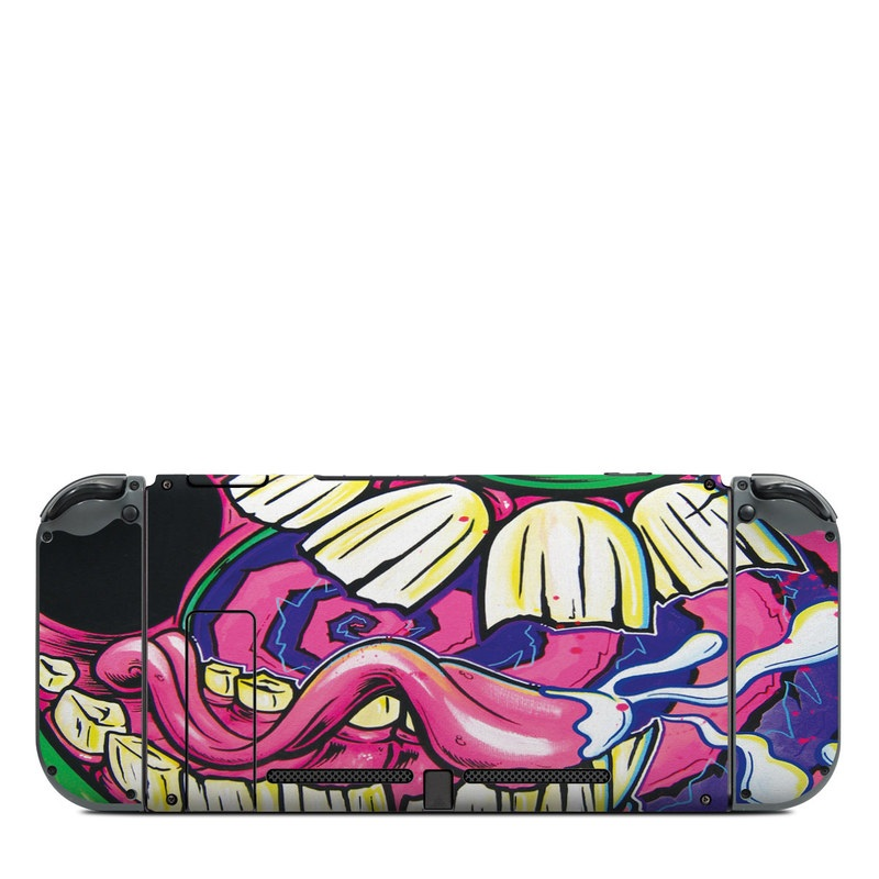 Nintendo Switch Back Skin design of Graffiti, Psychedelic art, Art, Street art, Fictional character with black, purple, gray, green, blue, yellow colors