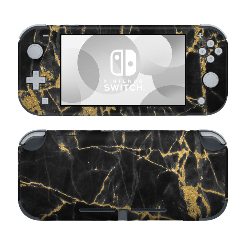 Nintendo Switch Lite Skin design of Black, Yellow, Water, Brown, Branch, Leaf, Rock, Tree, Marble, Sky with black, yellow colors