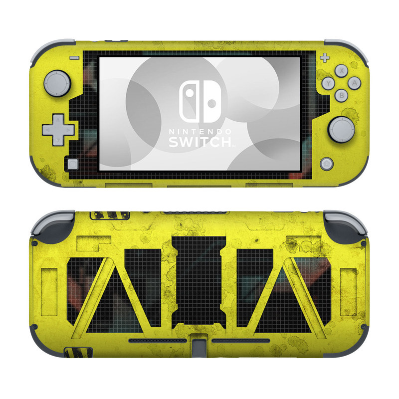 Nintendo Switch Lite Skin design of Yellow, Green, Font, Pattern, Graphic design with black, yellow, gray, blue, green colors
