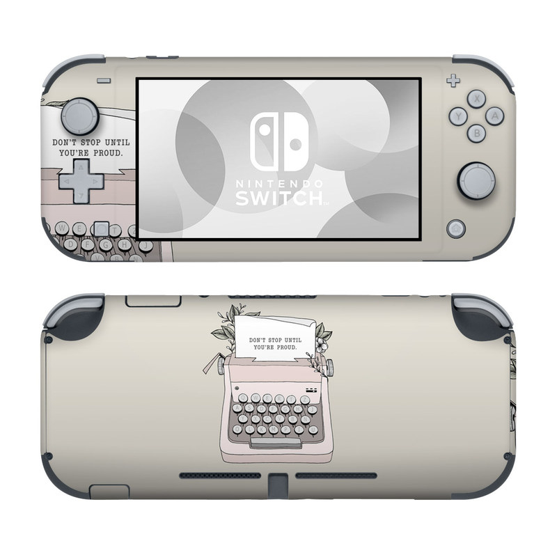 Nintendo Switch Lite Skin design of Typewriter, Office equipment, Space bar, Office supplies, Illustration with black, white, pink colors