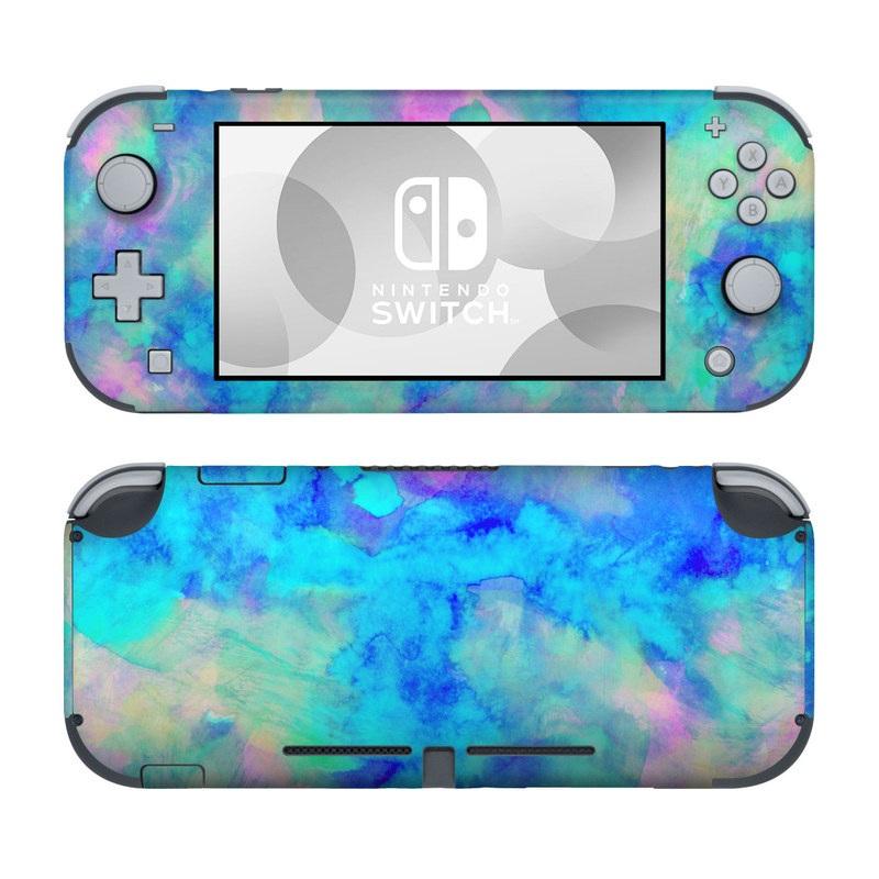 Nintendo Switch Lite Skin design of Blue, Turquoise, Aqua, Pattern, Dye, Design, Sky, Electric blue, Art, Watercolor paint with blue, purple colors