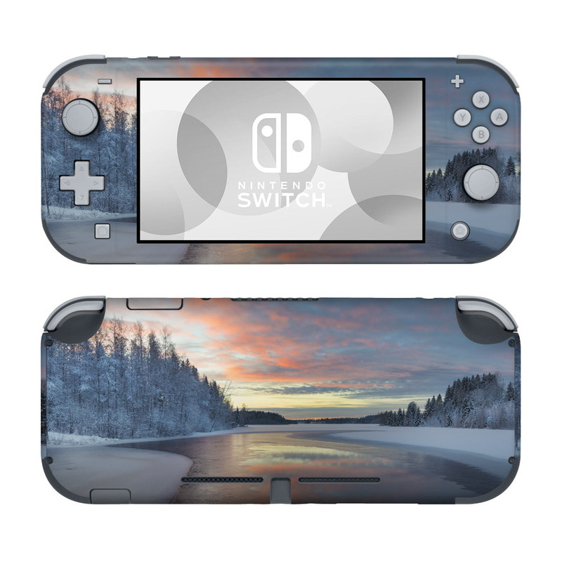 Nintendo Switch Lite Skin design of Sky, Nature, Winter, Natural landscape, Freezing, Snow, Atmospheric phenomenon, Water, Cloud, Evening with white, blue, orange, yellow, red colors
