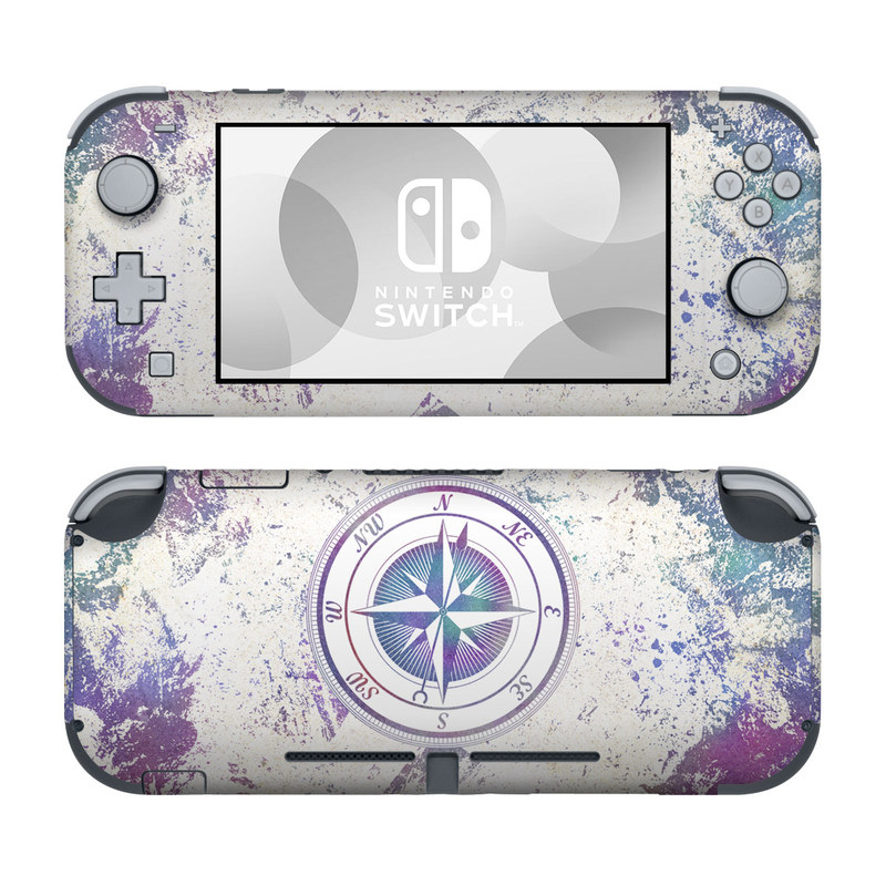 Nintendo Switch Lite Skin design of Clock, Circle, Compass, Graphics, Pattern, Illustration, Interior design with gray, white, yellow, pink, purple, blue colors