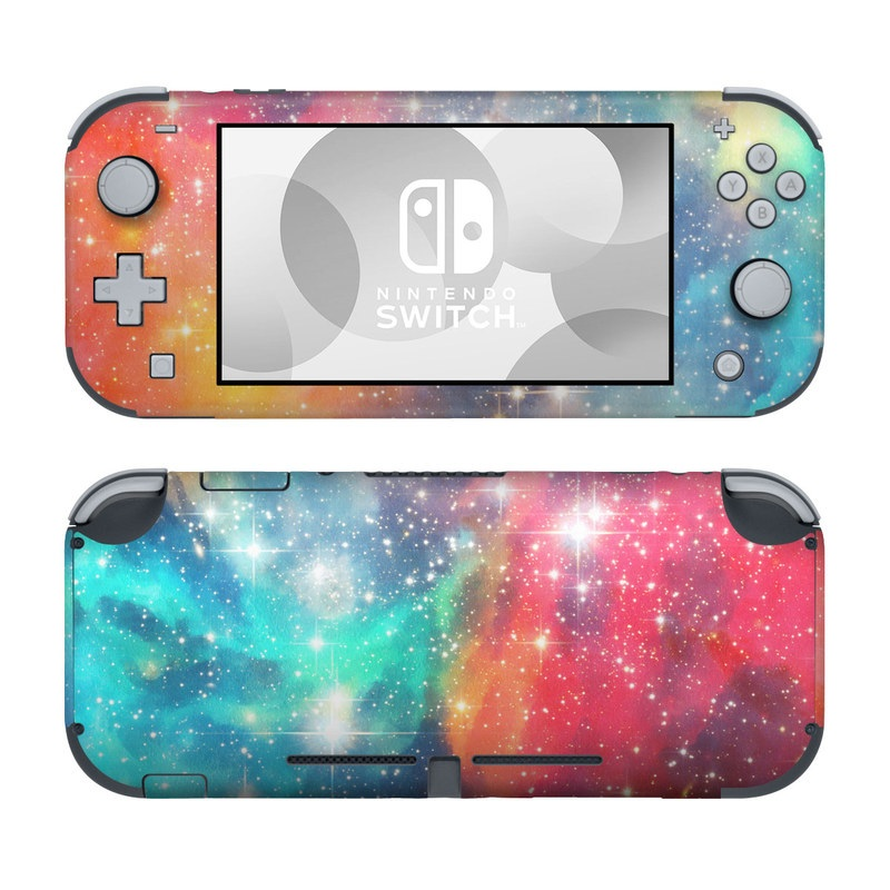 Nintendo Switch Lite Skin design of Nebula, Sky, Astronomical object, Outer space, Atmosphere, Universe, Space, Galaxy, Celestial event, Star with white, black, red, orange, yellow, blue colors