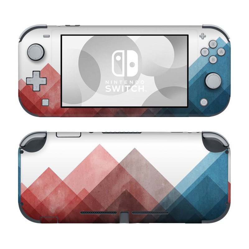 Nintendo Switch Lite Skin design of Blue, Red, Sky, Pink, Line, Architecture, Font, Graphic design, Colorfulness, Illustration with red, pink, blue colors