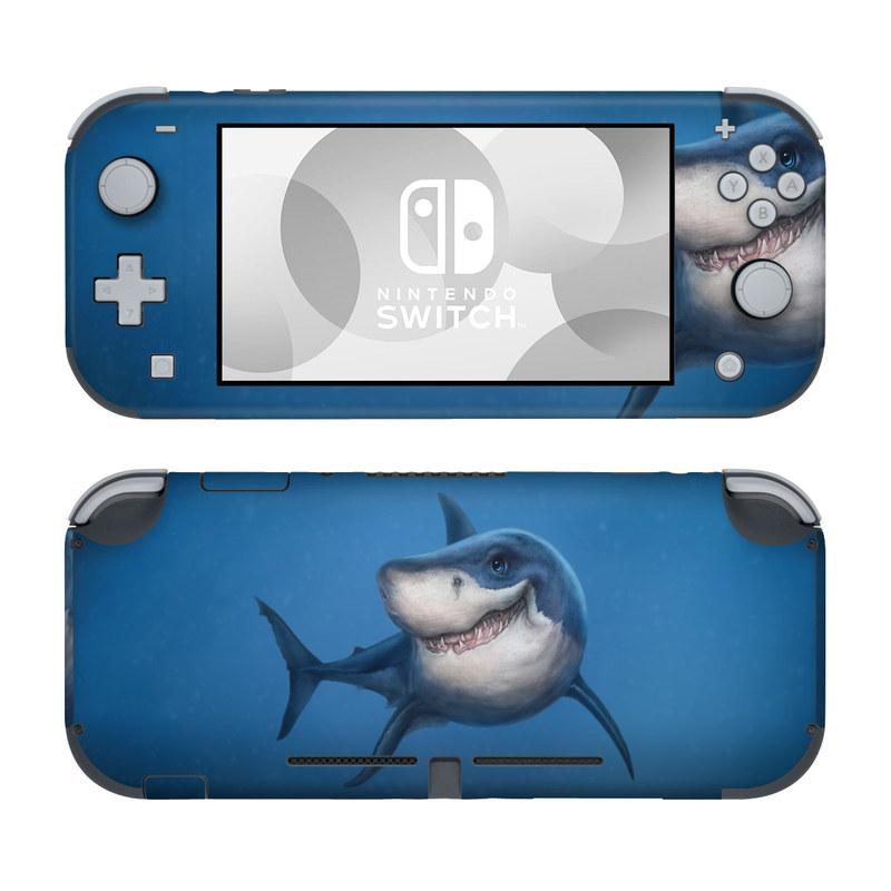 Nintendo Switch Lite Skin design of Fish, Great white shark, Shark, Tiger shark, Cartilaginous fish, Requiem shark, Lamniformes, Bull shark, Carcharhiniformes with black, blue, gray colors