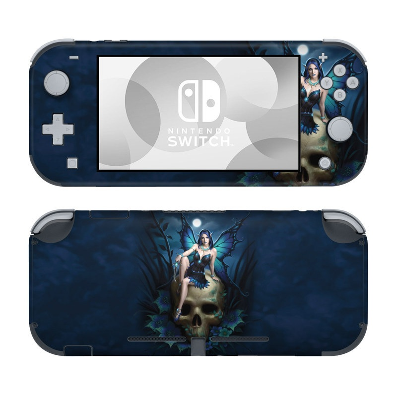 Nintendo Switch Lite Skin design of Cg artwork, Blue, Skull, Illustration, Darkness, Photography, Fictional character, Bone, Woman warrior, Graphics with black, gray, blue colors