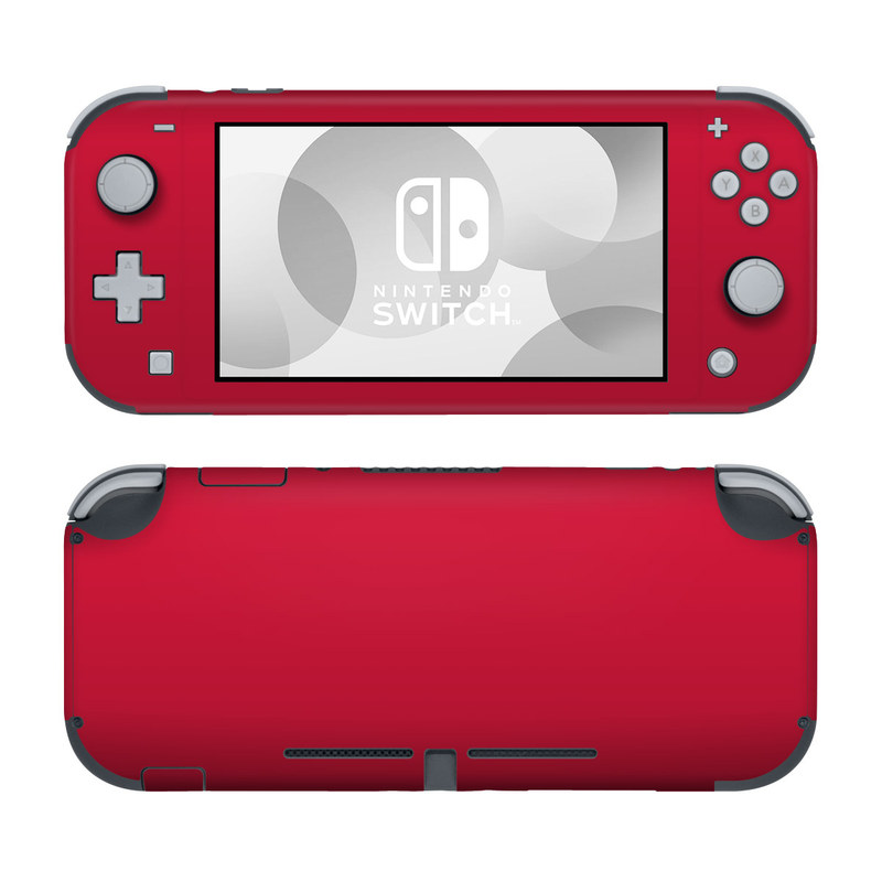 Nintendo Switch Lite Skin design of Red, Pink, Maroon, Purple, Orange, Violet, Magenta, Material property, Font, Peach with red colors