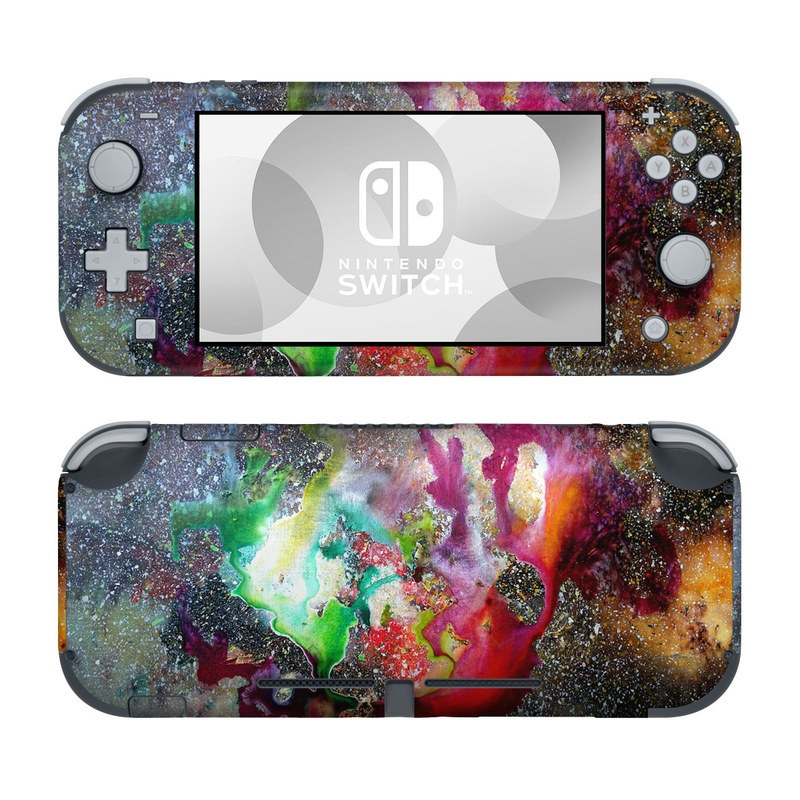 Nintendo Switch Lite Skin design of Organism, Space, Art, Nebula, Rock with black, gray, red, green, blue, purple colors