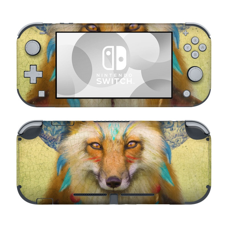 Nintendo Switch Lite Skin design of Red fox, Canidae, Fox, Wildlife, Swift fox, Carnivore, Jackal, Fur, Snout, Art with red, black, gray, green, blue colors