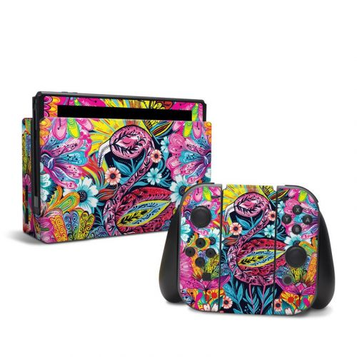 Flashy Flamingo Nintendo Switch Skin