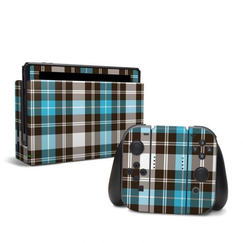 Turquoise Plaid Nintendo Switch Skin