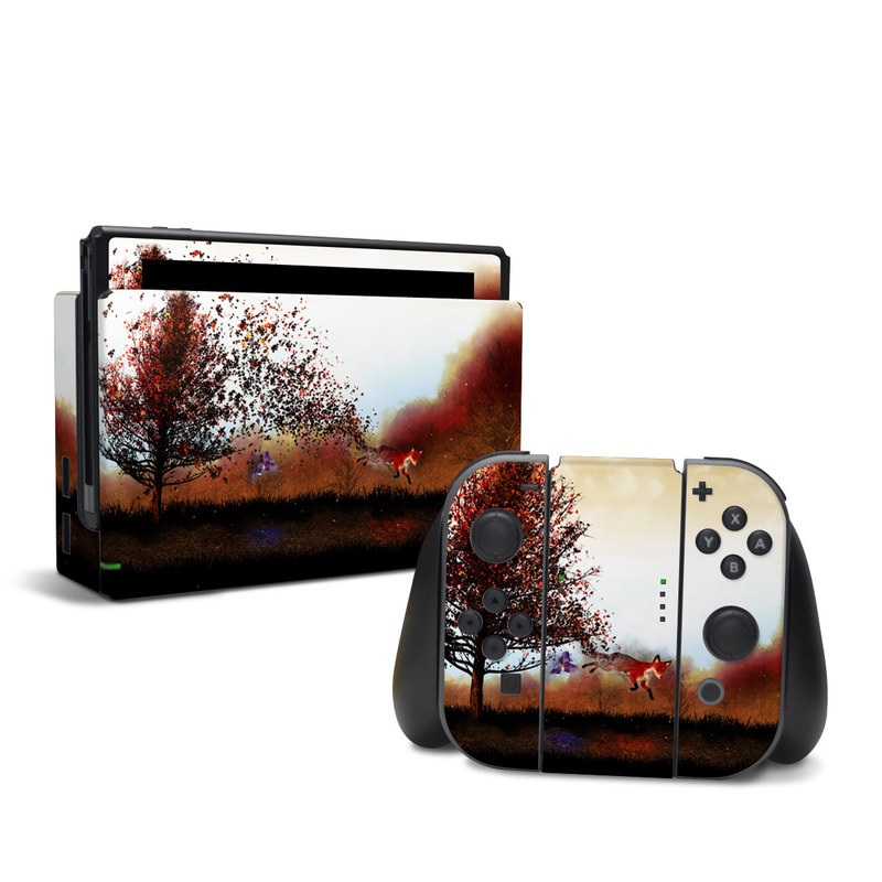 Nintendo Switch Skin design of Sky, Nature, Natural landscape, Tree, Morning, Horizon, Cloud, Landscape, Atmosphere, Rural area with black, white, red, yellow, orange colors