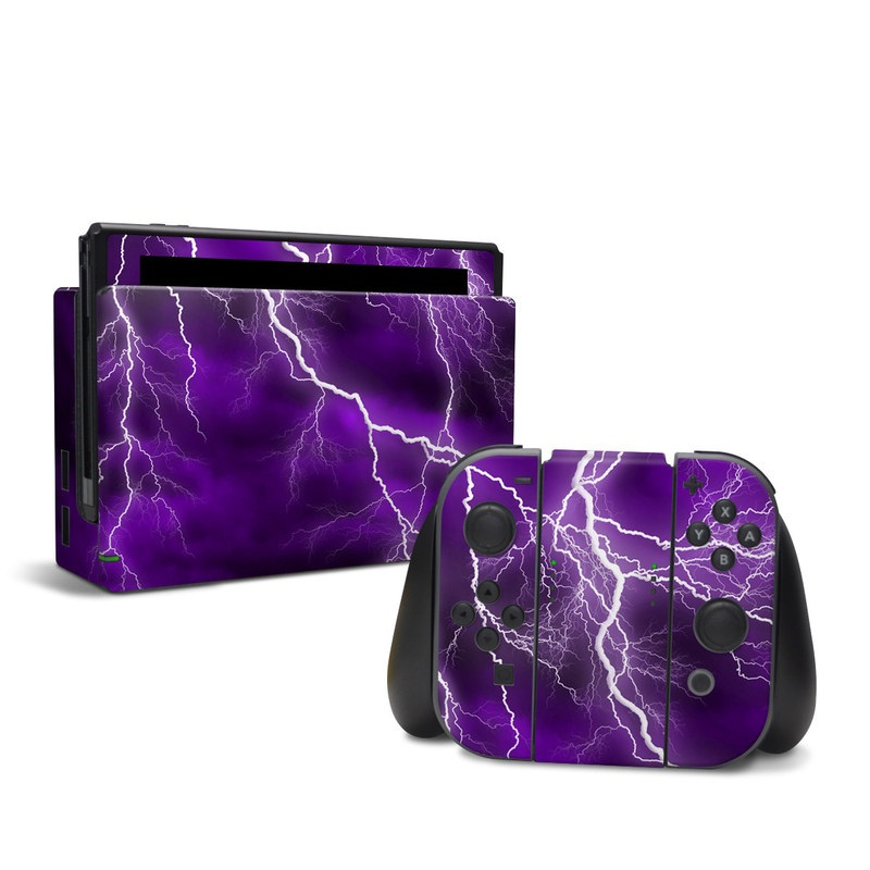 Nintendo Switch Skin design of Thunder, Lightning, Thunderstorm, Sky, Nature, Purple, Violet, Atmosphere, Storm, Electric blue with purple, black, white colors