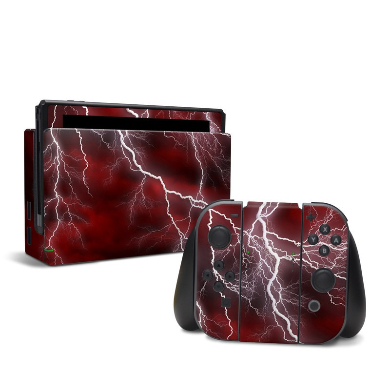 Nintendo Switch Skin design of Thunder, Thunderstorm, Lightning, Red, Nature, Sky, Atmosphere, Geological phenomenon, Lighting, Atmospheric phenomenon with red, black, white colors