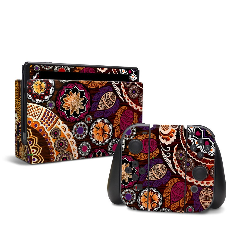 Nintendo Switch Skin design of Pattern, Motif, Visual arts, Design, Art, Floral design, Textile, Paisley, Tapestry, Circle with brown, purple, red, white, black colors