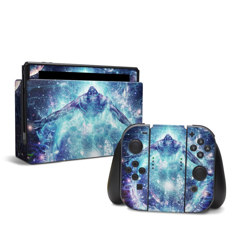 Nintendo Switch Skin design of Outer space, Astronomical object, Universe, Space, Sky, Atmosphere, Fractal art, Nebula, Science, Star with blue, black, red, yellow, white colors
