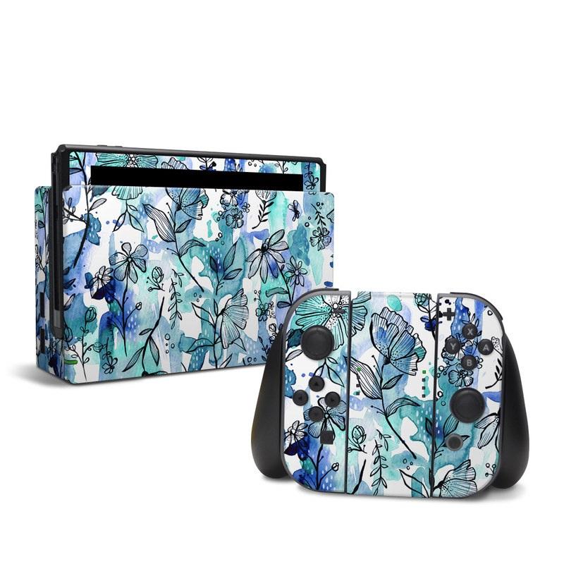 Blue Ink Floral Nintendo Switch Skin