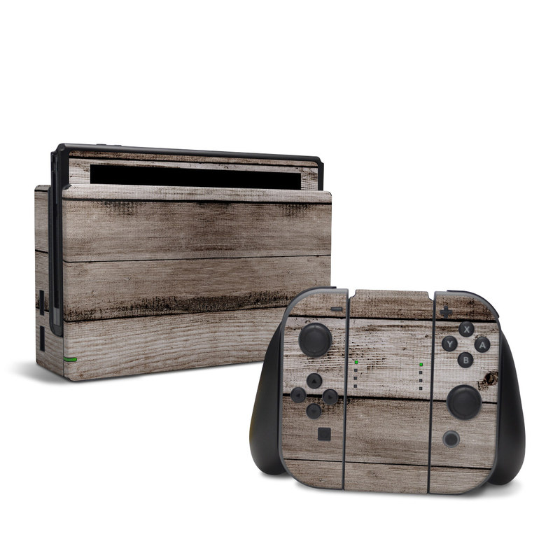 Nintendo Switch Skin design of Wood, Plank, Wood stain, Hardwood, Line, Pattern, Floor, Lumber, Wood flooring, Plywood with brown, black colors