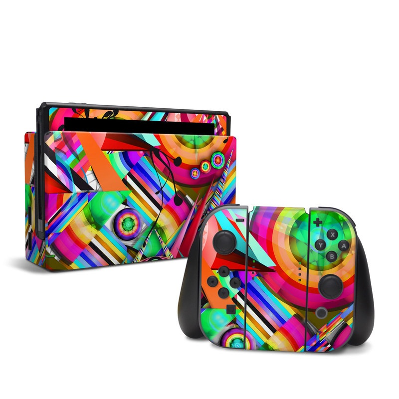Nintendo Switch Skin design of Psychedelic art, Pattern, Design, Graphic design, Colorfulness, Visual arts, Circle, Art with red, pink, green, yellow, orange colors